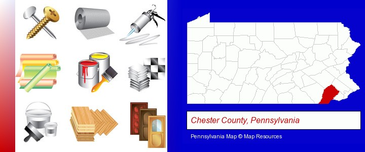 representative building materials; Chester County, Pennsylvania highlighted in red on a map