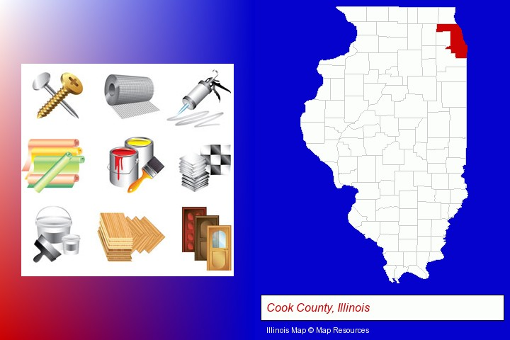 representative building materials; Cook County, Illinois highlighted in red on a map