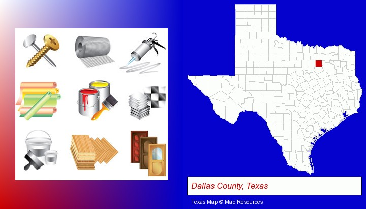 representative building materials; Dallas County, Texas highlighted in red on a map