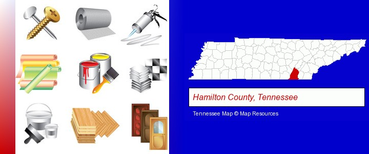 representative building materials; Hamilton County, Tennessee highlighted in red on a map