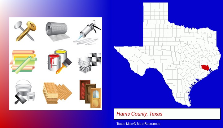 representative building materials; Harris County, Texas highlighted in red on a map