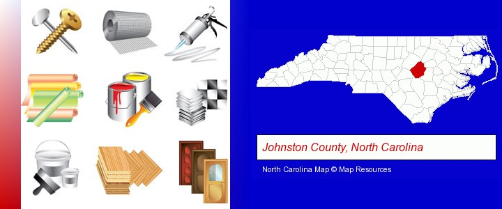 representative building materials; Johnston County, North Carolina highlighted in red on a map
