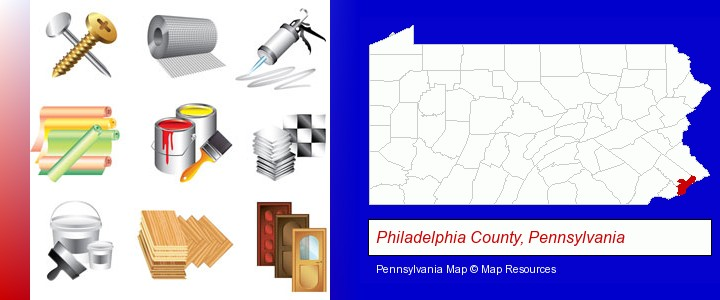 representative building materials; Philadelphia County, Pennsylvania highlighted in red on a map
