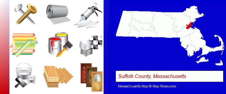 representative building materials; Suffolk County, Massachusetts highlighted in red on a map